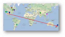 A map showing the trajectory of a bitcoin as it makes its way around the world.