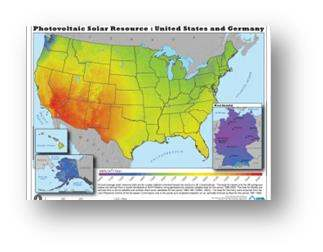 A map showing that the US gets far more sunlight than Germany